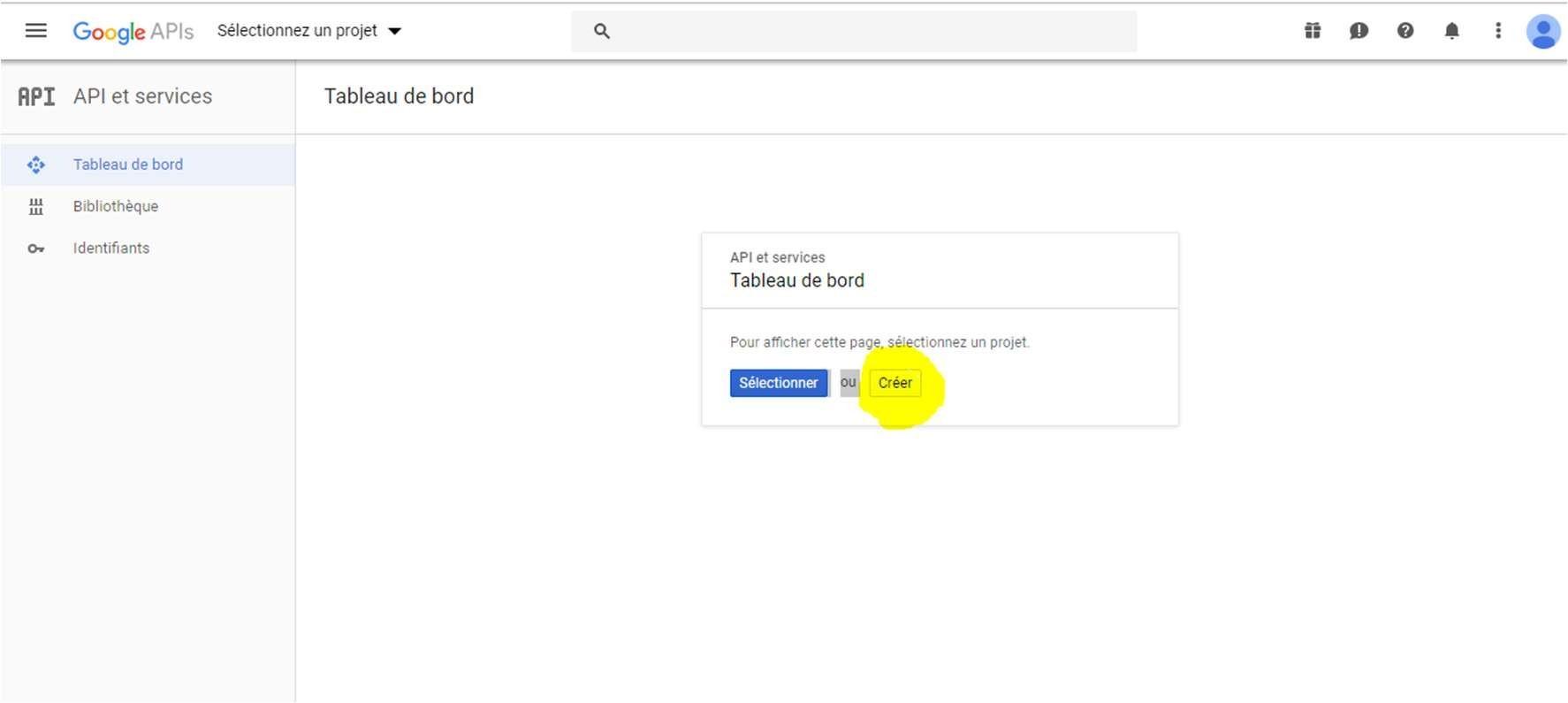 Créer un  nouveau projet dans l'API Google